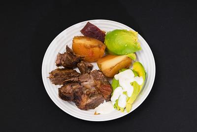 Roast lamb with potato, beetroot and avocado