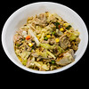 Curry leftover lamb shoulder with cabbage and vegetables