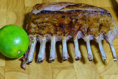 Rack of lamb seared and ready to carve