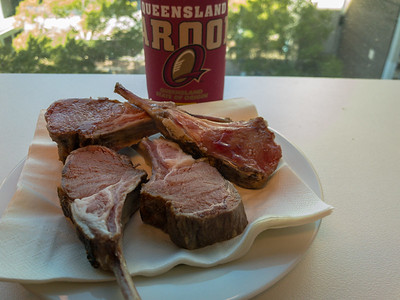 Tuesday lunch. Leftover sous vide rack of lamb.