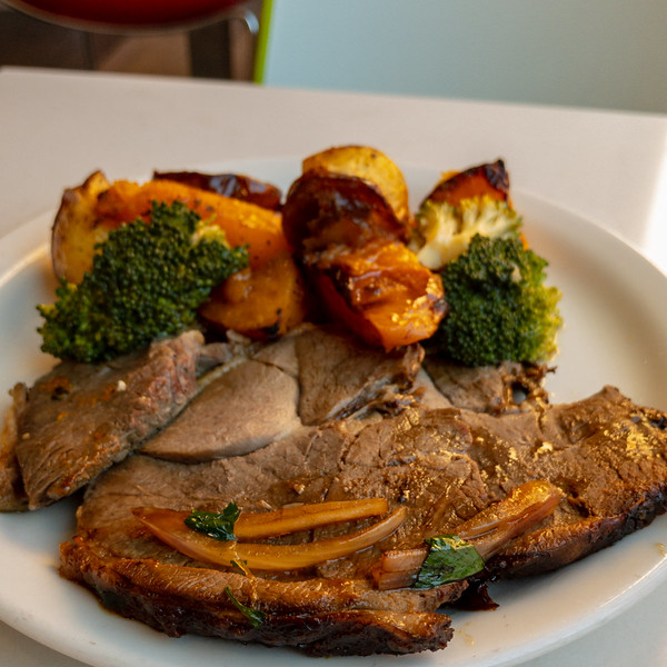 Friday lunch. Roast lamb and vegetables.