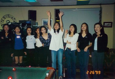 Semi-Annual KDPhi and LPhiE Pledge/Active Mixer at Star Pizza. Eta Pledge Class members: Vi Chau, de-pledge, Cindy Le, Polary Leng, Maria Nguyen [de-active], Shirley Ong, de-pledge, de-pledge and Thuy Phan.