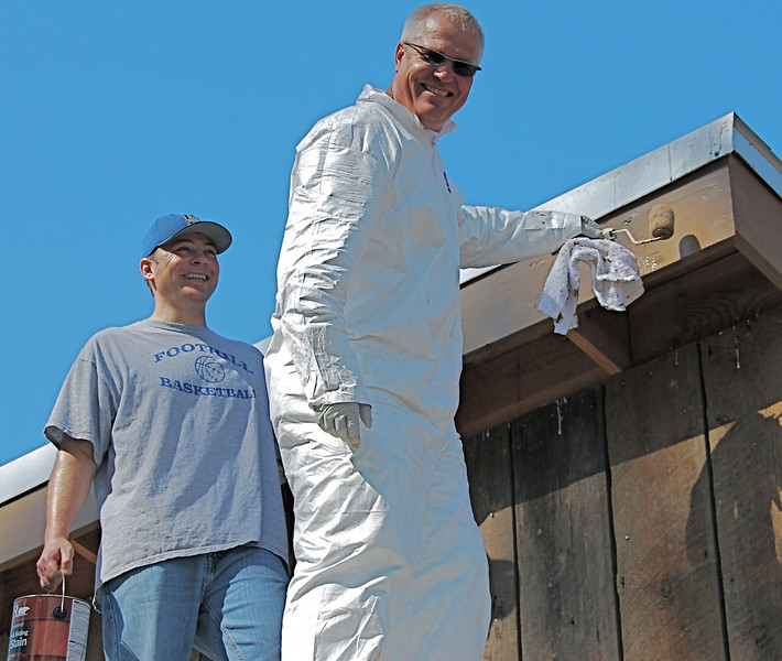 Dan Garfin and Thomas Raeth share upper-deck painting duties. No one fell off the roof. Which is good, because we don't have liability insurance. But, we ARE all daredevils, ever tempting fate.