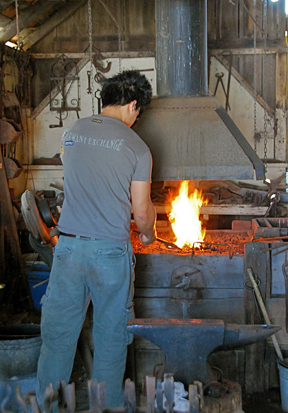 Ranch worker plying his trade in ranch's blacksmith shop. Fire in furnace reaches temperatures of up to 2000 degrees Farenheit.
