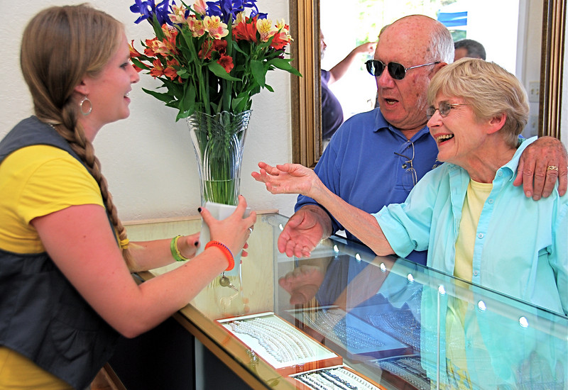 Greeting longtime customers Paul and Glenda Fillinger is Katie Rose Ware. Her father, Steve Ware, is proprietor of Ware Designs jewelry store, newly relocated to 3645-A Mt. Diablo Blvd. in Lafayette, between the post office and Trader Joe's. Katie Rose attends Acalanes High School.