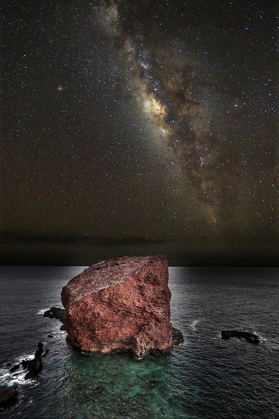 For years, I've had a vision of capturing the Milky Way rising above Pu'upehe off the island of Lana'i, Hawaii.   Unfortunately, without a truck load of lighting... the shot I've had in mind is just about impossible to pull off.   However, by pulling pieces from the dozens of shots I took this night, and blending them together... I was able to put together a fanciful image of what I would like people to see and enjoy about this magical place in Hawaii.
