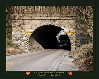 This is a composite photo of the former Railroad tunnel where 222 enters Quarryville. The dark green frame was chosen to match the old PA steam locomotive colors.