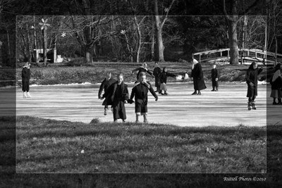 We were kindly given permission to take this winter scene photo of the Amish children skating on one of the Rush ponds.