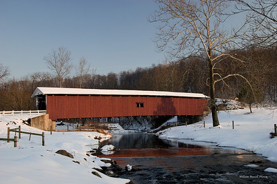 This is a winter scene of the Jackson Mill Bridge on Mt. Pleasant Rd. east of Quarryville