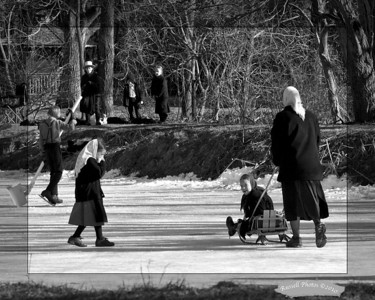 This is a composite photo taken of the Amish skating on the Rush pond and by permission.