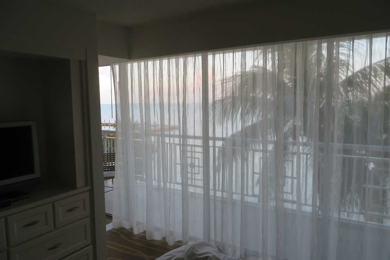 Due to flight delays, we did not get to the hotel until after dark on Sunday.  We awoke Monday morning to this view from the bedroom of our suite at the Key Largo Hilton.