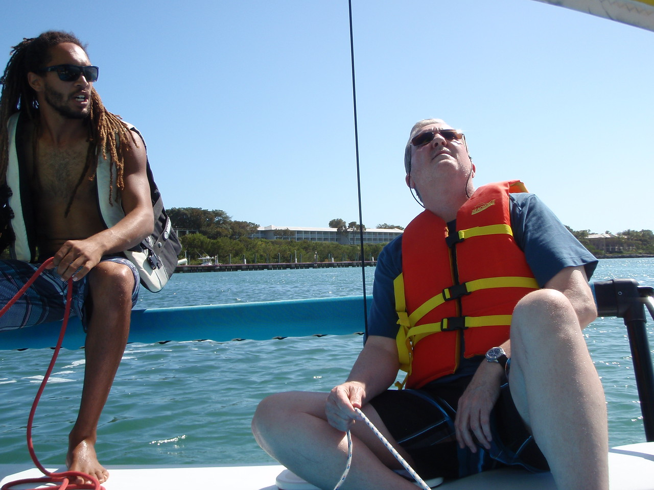 After lunch we headed out on a catamaran where Jordan provided Kenny with tips on sailing