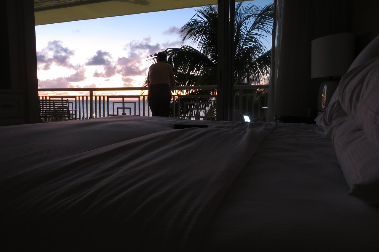 Kenny enjoys the twighlight view as our first day in Key Largo comes to a close