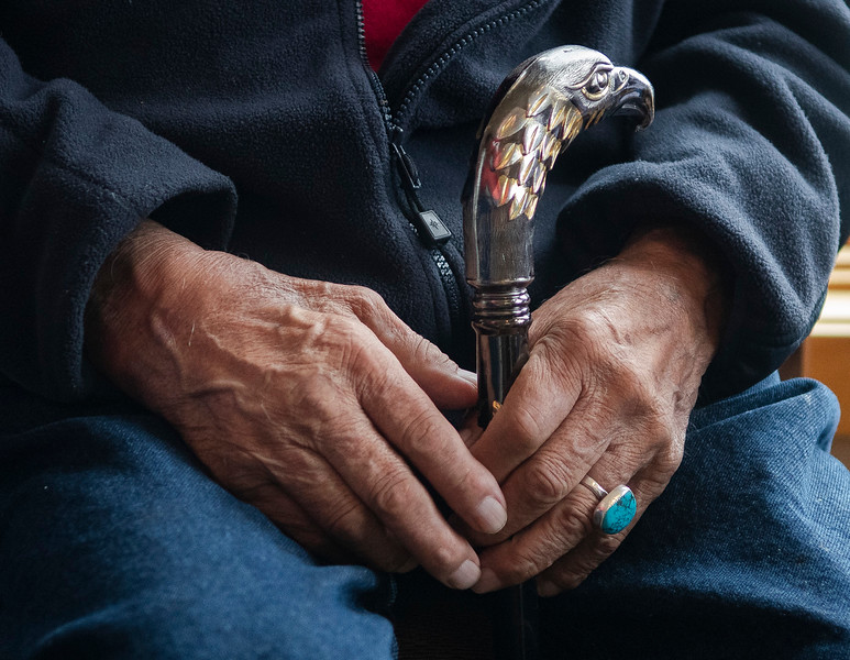 The hands of the Arapahoe Tribe pipe holder Nelson White.<br /> (Photo by Tyler Pialet/Trail-Gazette)