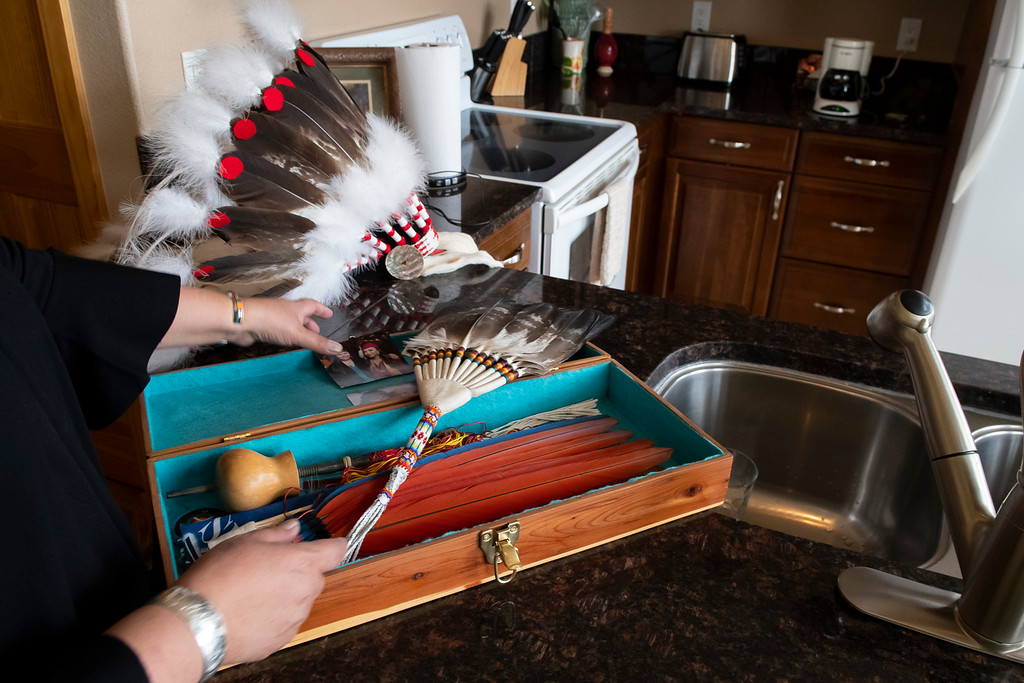 . Cedar box of fans used in sacred spiritual Native American Church ceremonies. (Photo by Tyler Pialet/Trail-Gazette)