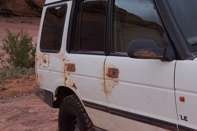 how did that mud get caked in his door handles?