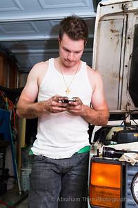 Dan wrenching the iPhone.