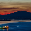 Red Sky At Night<br /> A freighter on San Pablo Bay preparing to head West toward Mount Tam, past San Francisco and out into the vast Pacific....