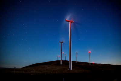 Wind Turbines at Night