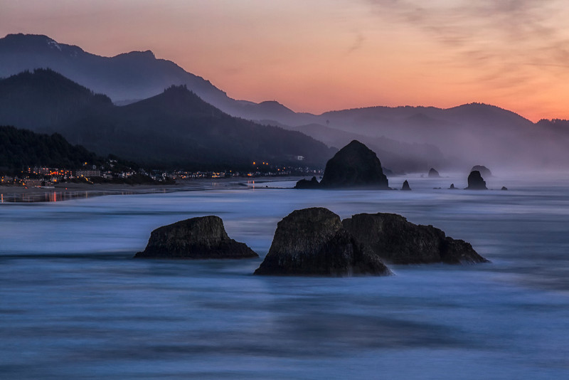 Dusk Arrives at Cannon Beach, Oregon