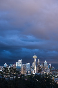 Seattle Skyline in Storm Portrait