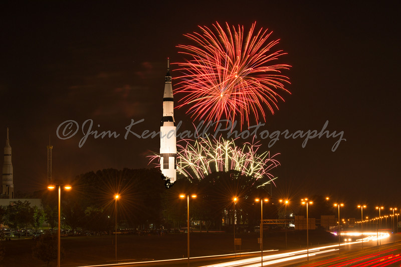 Composite image since the Saturn V spotlights were turned off