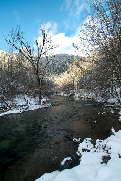 Looking up a Snowy Little River
