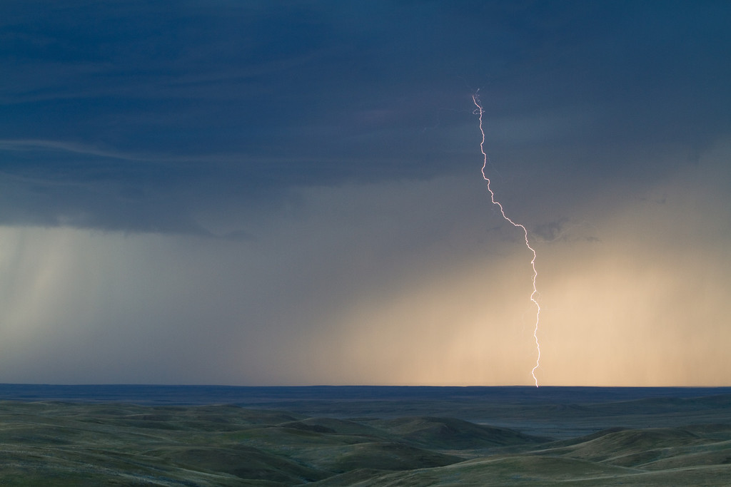 Lightning over Grasslands National Park East Block