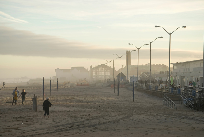 The beach in Asbury park on a foggy November day.