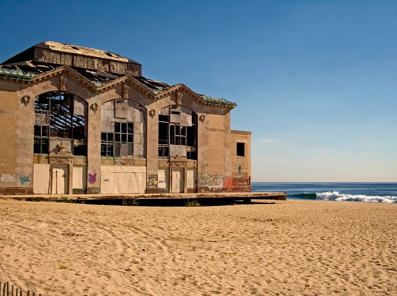 The former Casino building on the beach in Asbury Park, along the Jersey shore.