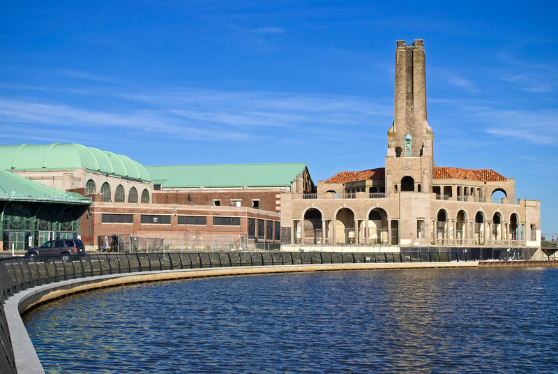 The lake and historic buildings in Asbury Park, along the Jersey shore.