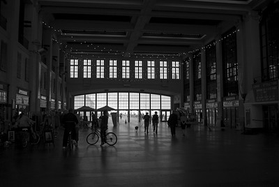 The old Casino in Asbury Park, along the Jersey Shore in black and white.