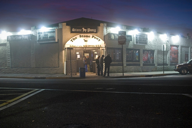 A nighttime view of the Stone Pony in Asbury Park, along the Jersey shore.