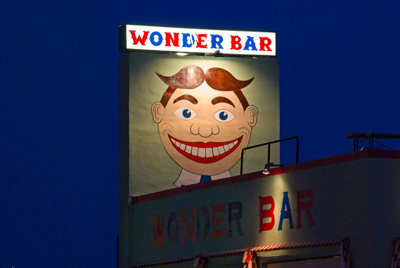 The Wonder Bar sign at night in Asbury Park, along the Jersey shore.