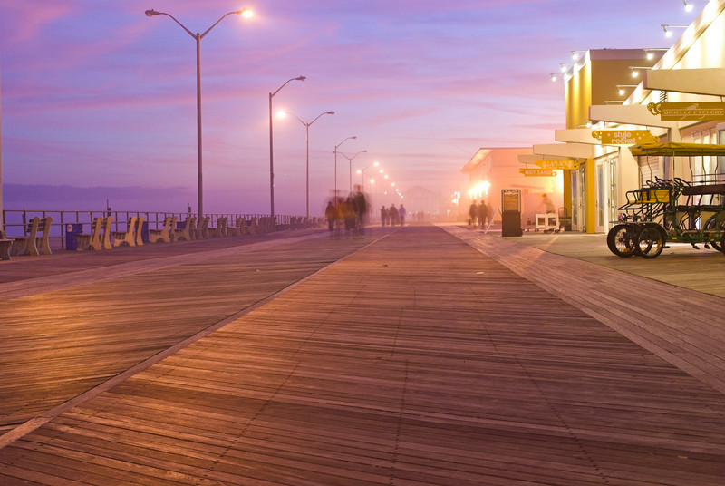 A time exposure of the Asbury Park boardwalk at night along the Jersey shore.
