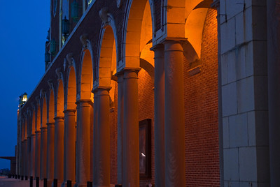 The columns of Convention Hall are illuminated at night in Asbury Park, along the Jersey shore.