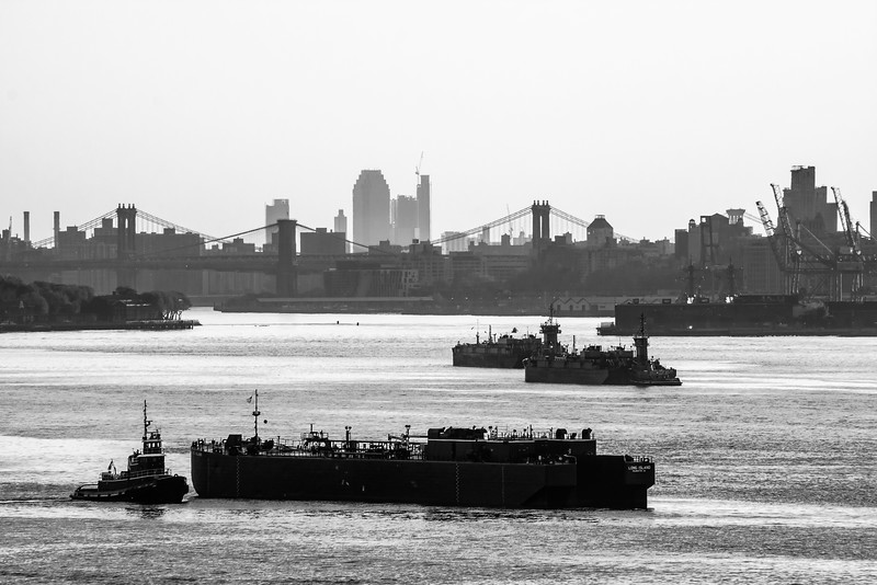 New York Harbor Black and White