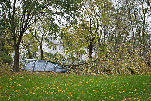 """""""Sandy Crushed Pool""""<br /> <br /> MANALAPAN, NEW JERSEY/USA – OCTOBER 30: A downed tree crushed an above ground pool as a result of Hurricane Sandy on October 30, 2012 in Belmar New Jersey."""