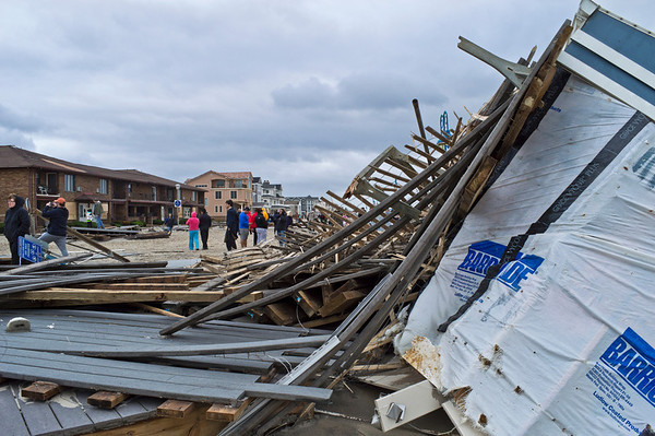 """Sandy Belmar Debris On Beach""<br /> <br /> BELMAR, NEW JERSEY/USA – OCTOBER 30: The Devastation along the beach the day after Hurricane Sandy on October 30, 2012 in Belmar New Jersey."