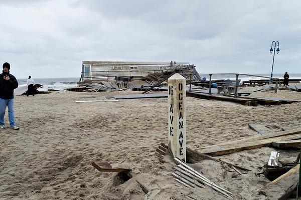 """Sandy Ocean Ave Belmar""<br /> <br /> BELMAR, NEW JERSEY/USA – OCTOBER 30: The Devastation along the beach the day after Hurricane Sandy on October 30, 2012 in Belmar New Jersey."