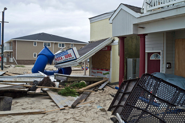 """Sandy Belmar Destruction""<br /> <br /> BELMAR, NEW JERSEY/USA – OCTOBER 30: Damaged store fronts along Ocean Ave the day after Hurricane Sandy on October 30, 2012 in Belmar New Jersey."