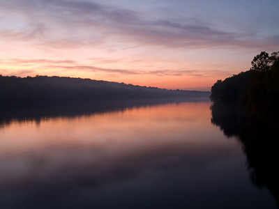 """""""Delaware Sunrise"""" 1 The sunrise over the Delaware River near Washington Crossing between New Jersey and Pennsylvania."""