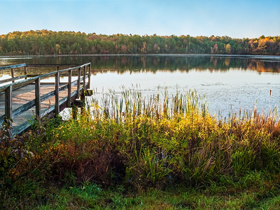 Autumn Day Dock on Lake