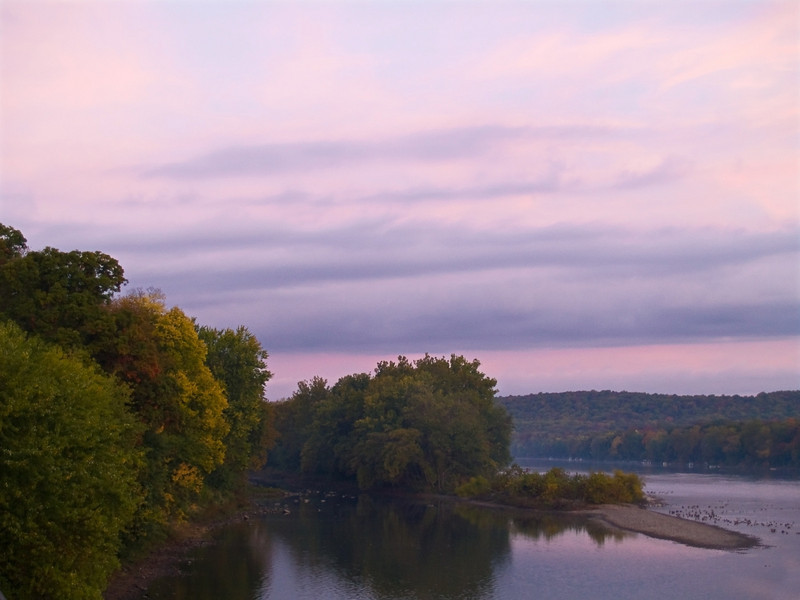 """""""Delaware Morning""""<br /> <br /> The sunrise over the Delaware River near Washington Crossing between New Jersey and Pennsylvania."""