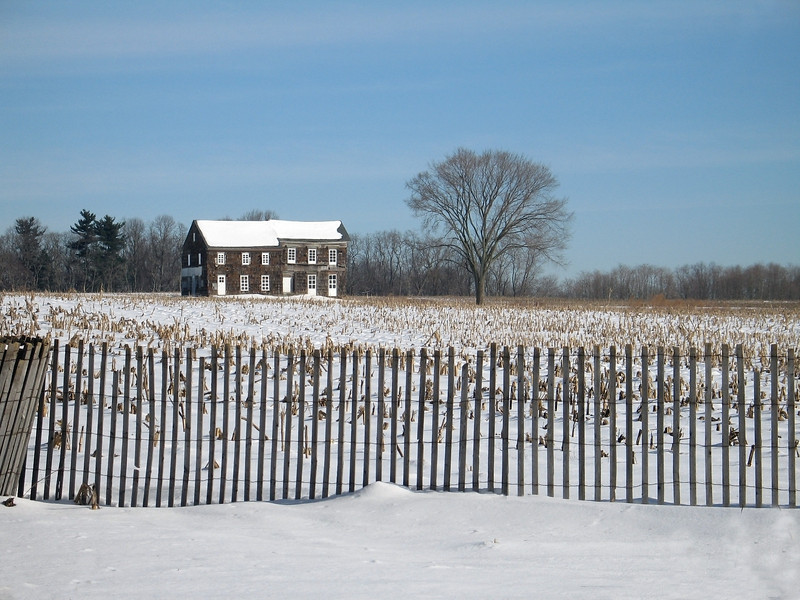 """""""Molly Pitcher Home""""  A Winter view of the historic Molly Pitcher home in Monmouth Battlefield State Park in New Jersey."""