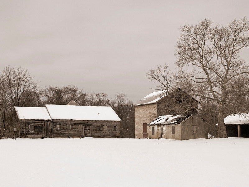 """""""Farm Sepia""""<br /> A rural Winter landscape photographed in Central New Jersey."""