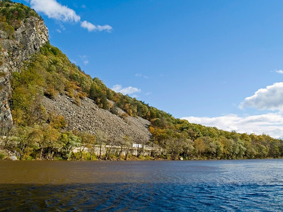"""Delaware Mountainside"" The Delaware river passing through the Delaware Water Gap between NJ and Pennsylvania."