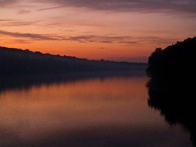 """""""Delaware Sunrise"""" 3 The sunrise over the Delaware River near Washington Crossing between New Jersey and Pennsylvania."""