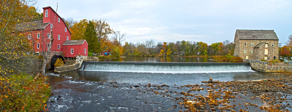 """""""Clinton Mills Panorama""""  A panoramic view of the historic Red Mill and Stone Mill in Clinton Township, New Jersey."""