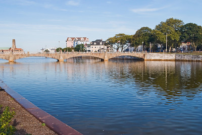 A view of the footbridge and lake in Asbury Park, along the Jersey Shore.